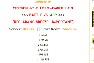 30TH DECEMBER UK DEFENCE OF BREEZE 14